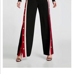 ZARA WOMAN BLACK PANTS RED WHITE STRIPE GOLD SMALL